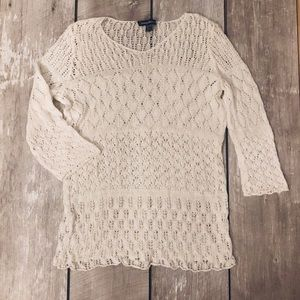 TOMMY BAHAMA Linen Blend Crochet Top